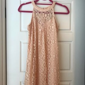 Monteau Los Angeles pink lace dress